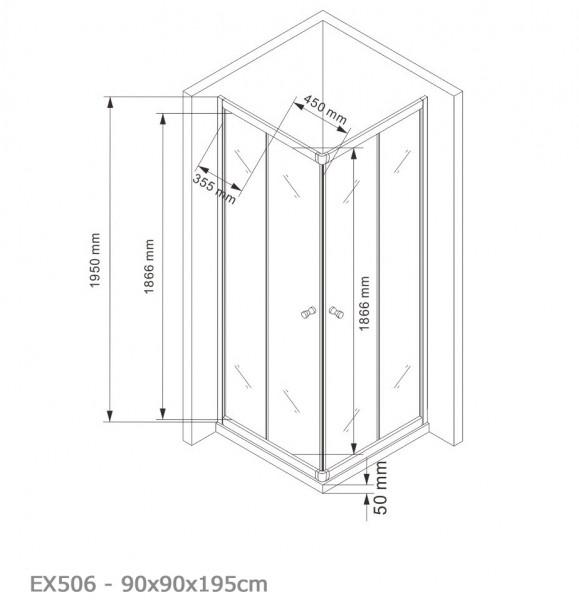 Duschkabine Eckdusche Schiebetüren 6mm NANO Echtglas EX506 - 90x90x195cm zoom thumbnail 5