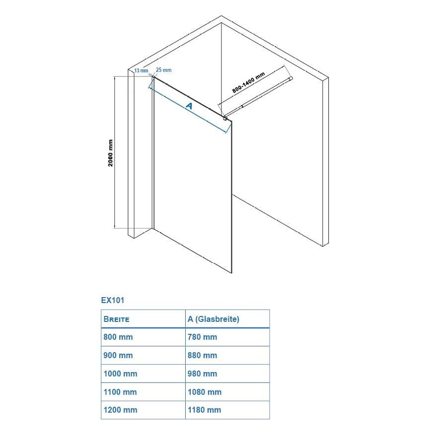 Duschabtrennung Walk-In Dusche Nano Echtglas EX101 - 8mm - Klarglas - Breite wählbar zoom thumbnail 5