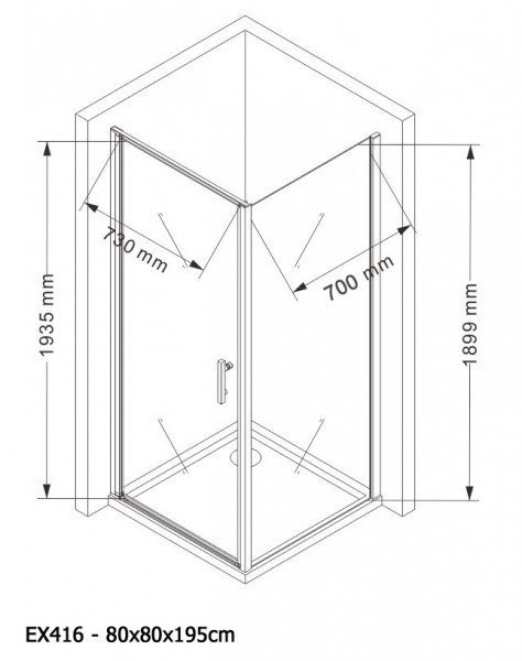 Duschkabine Eckdusche 8 mm Nano Echtglas EX416 - 80 x 80 x 195 cm - inkl. Duschtasse zoom thumbnail 6
