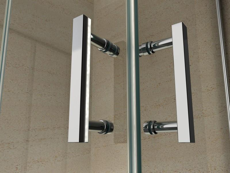 Duschkabine Eckeinstieg Falttür Nano Echtglas EX213 - 100 x 100 x 195 cm zoom thumbnail 3
