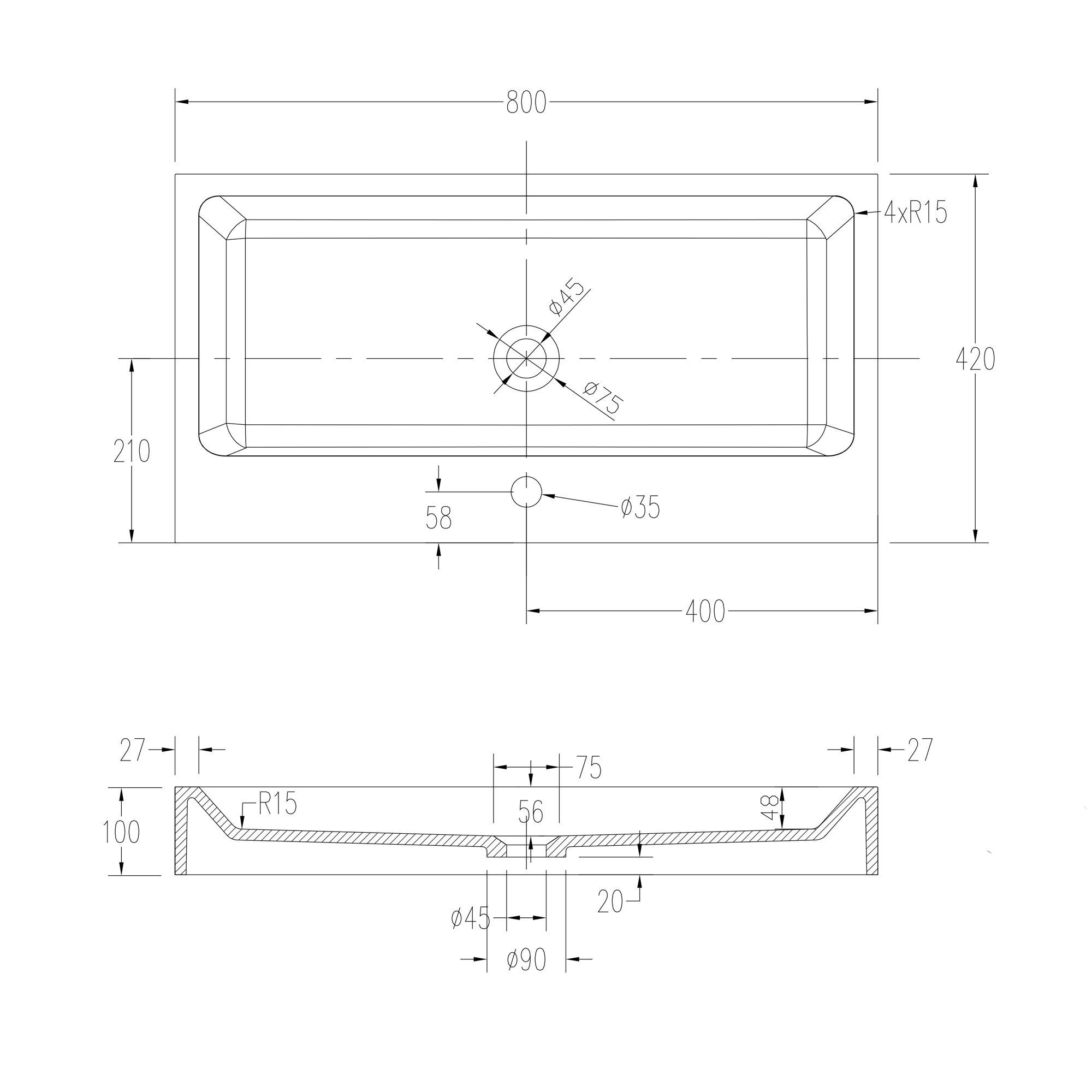 Waschbecken Aufsatzwaschbecken PB2143 aus Solid Stone Mineralguss – Weiß Matt – 80 x 42 x 10 cm zoom thumbnail 5