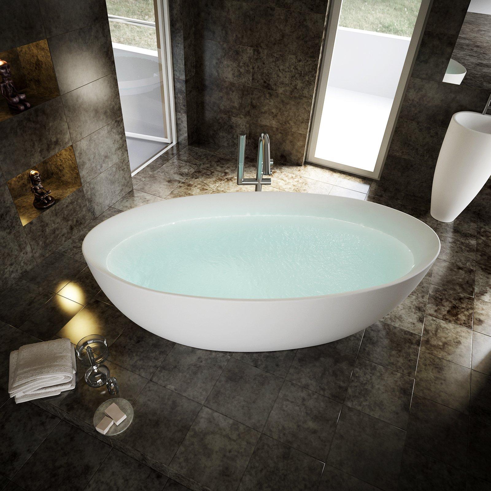 Freistehende Badewanne TERRA Acryl - 186 x 88 cm - Weiß glänzend