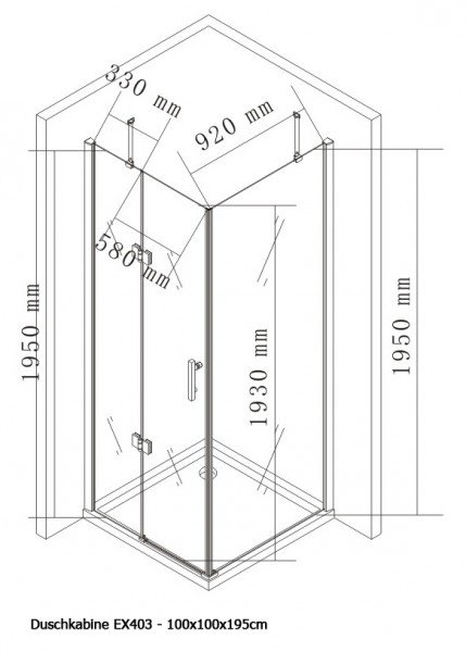 Duschkabine Eckdusche Nano Echtglas EX403 - 100 x 100 x 195 cm zoom thumbnail 4