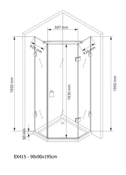 Duschkabine Fünfeckdusche Nano Echtglas EX415 - 90 x 90 x 195 cm inkl. Duschtasse zoom thumbnail 4