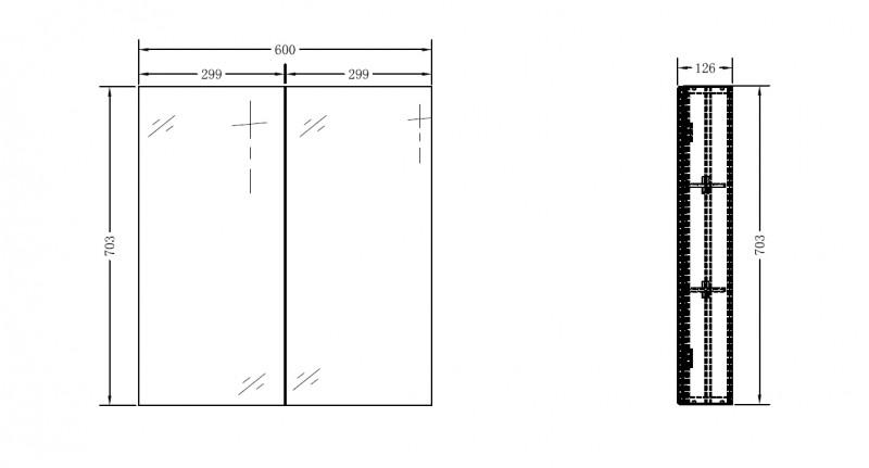 Aluminium-Spiegelschrank G600 2-türig - innen und außen Spiegel - 60 x 70,3 x 12,6 cm zoom thumbnail 3