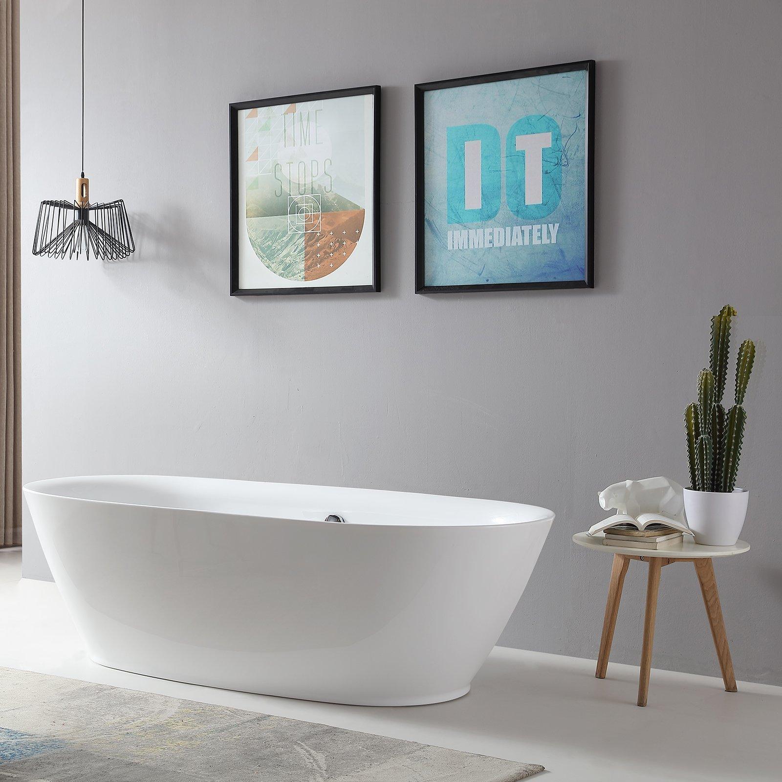 Freistehende Badewanne ROMA ACRYL weiß BS-916 180x84 inkl. Armatur 8028
