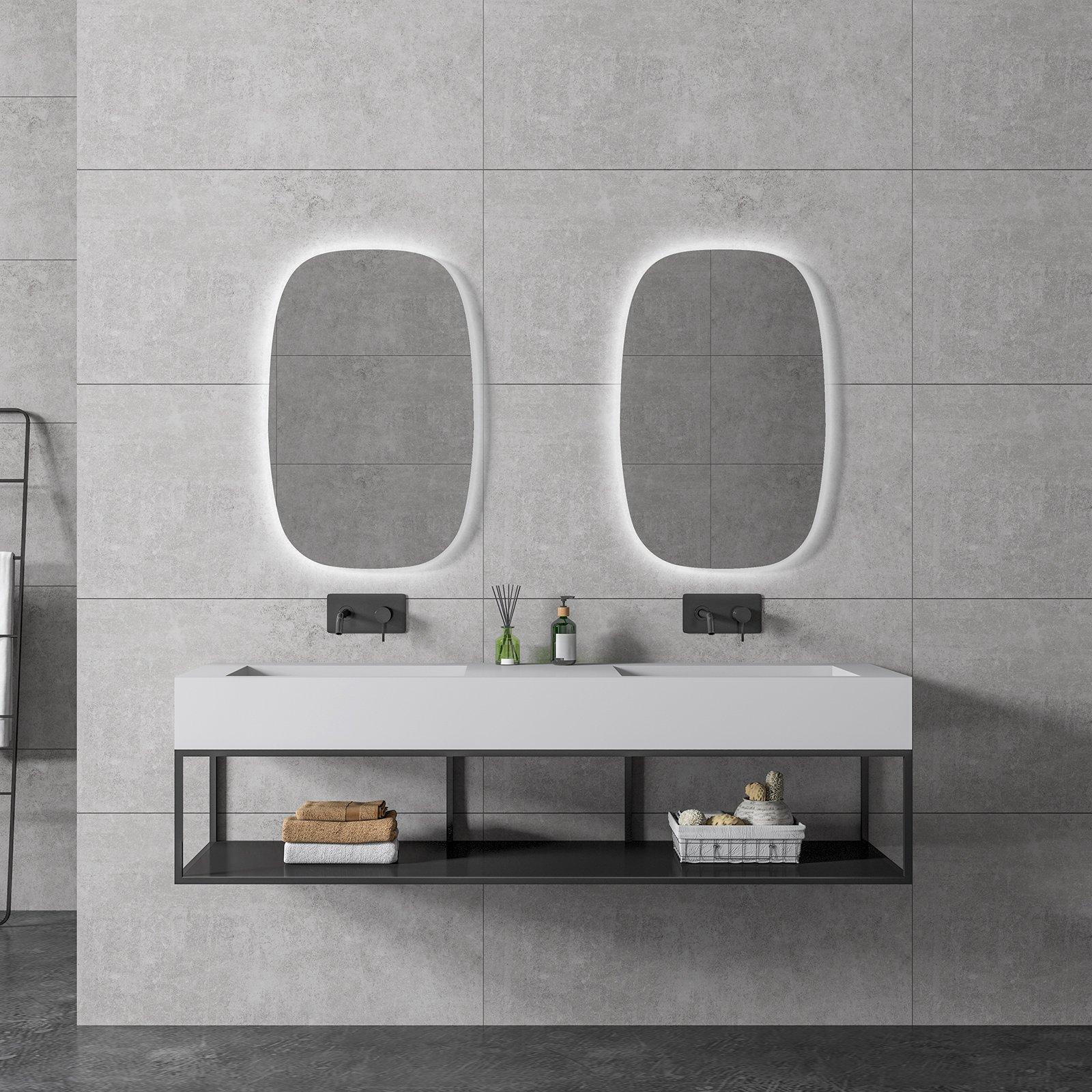Waschbecken Metallkonsole 150S hängend - Schwarz matt - passendes Untergestell für BERNSTEIN Waschbecken TWG16