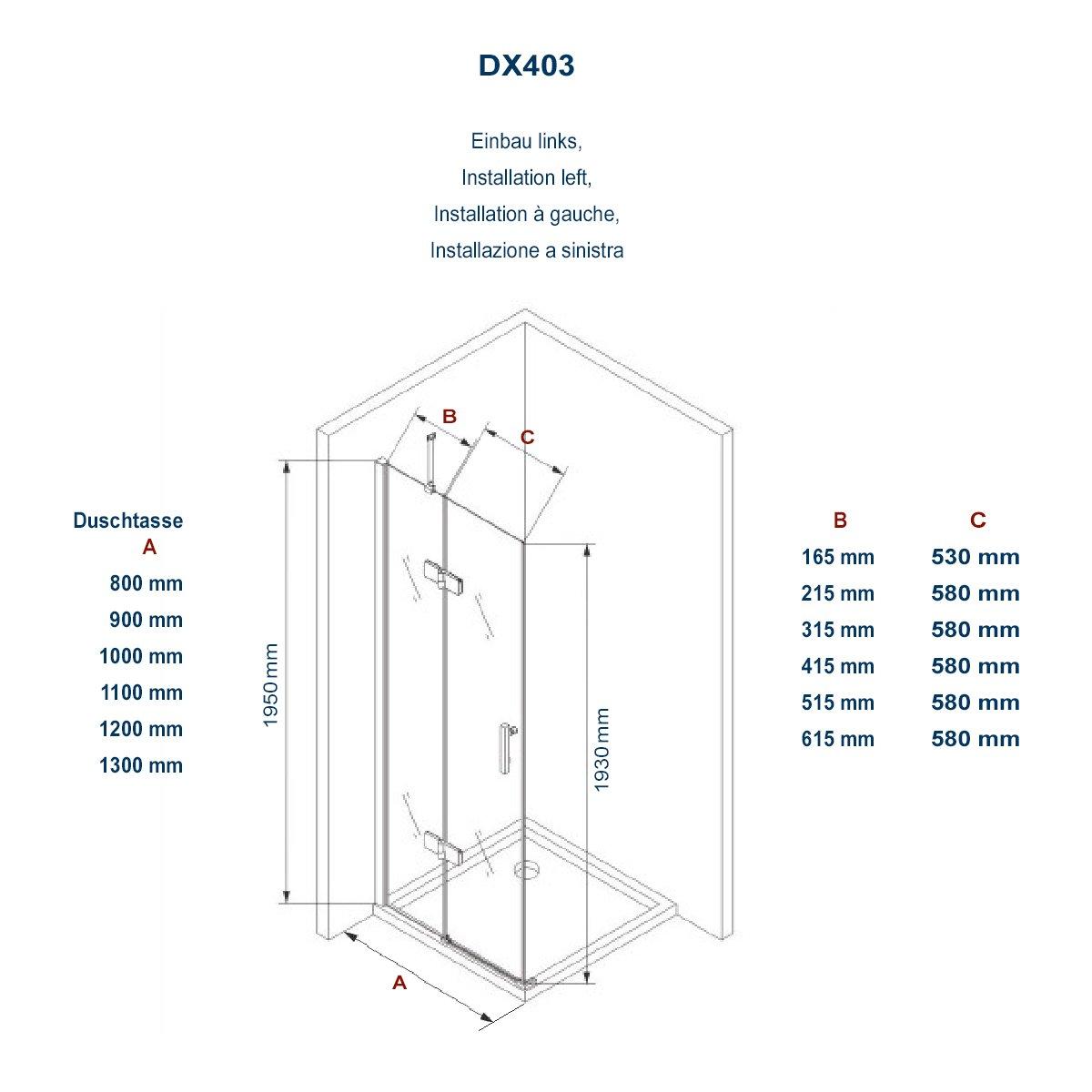 Duschkabine Eckdusche 8 mm Nano Echtglas DX403 - Breite wählbar zoom thumbnail 5