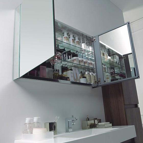 Aluminium-Spiegelschrank 2-türig - innen und außen Spiegel - 100 x 66 x 12 cm zoom thumbnail 3