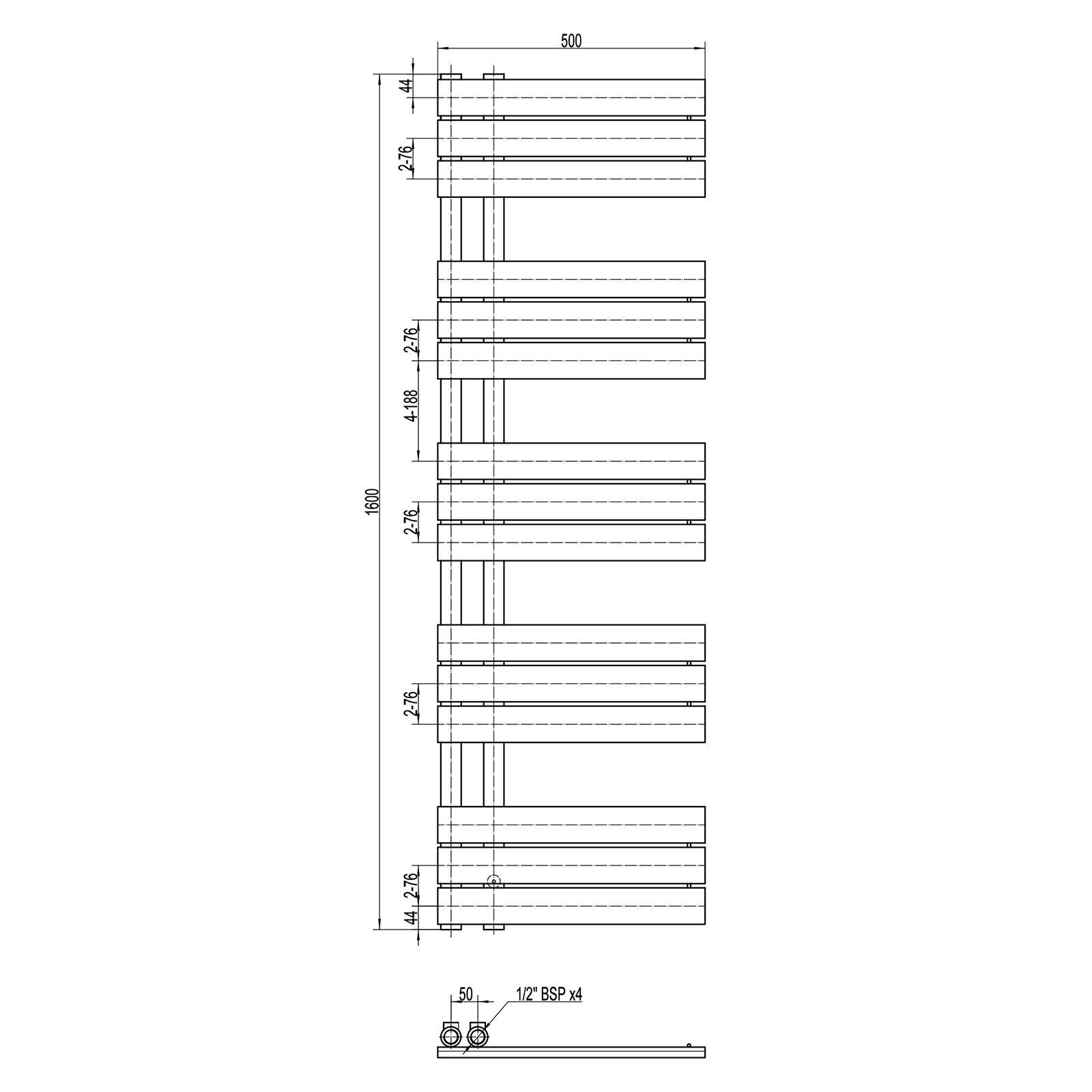 Design Badheizkörper Handtuchwärmer D16G in Anthrazit - Größe wählbar zoom thumbnail 4