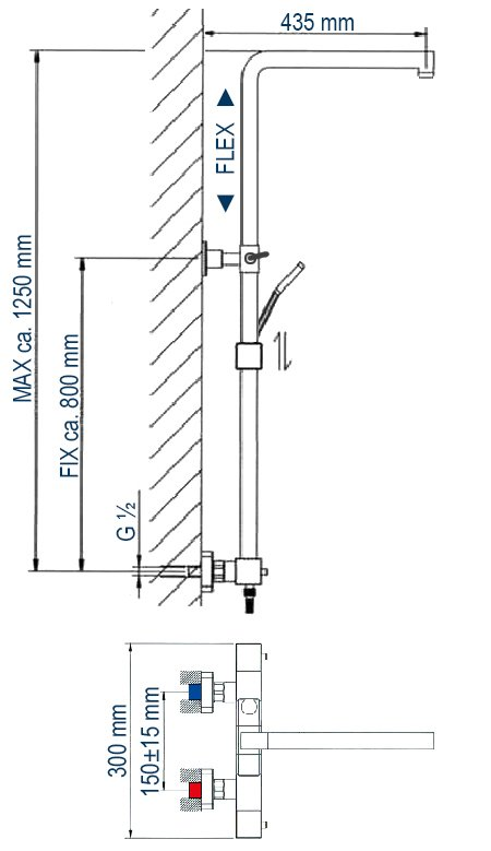 Design-Duschsäule Thermostat 3011 Basic inkl. Handbrause - Auswahl Duschkopf eckig & rund zoom thumbnail 3