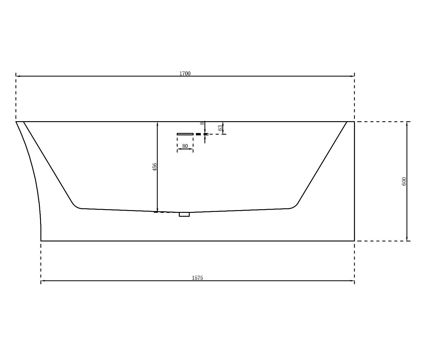 Freistehende Raumsparbadewanne NOVA CORNER Acryl Weiß - Einbau rechts - 170 x 78 cm - Oberfläche & Standarmatur wählbar zoom thumbnail 3