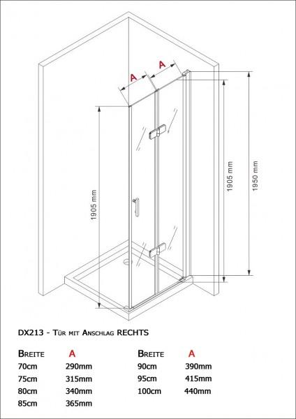 Duschkabine Eckdusche 8 mm Nano Echtglas DX213 - Breite wählbar zoom thumbnail 4