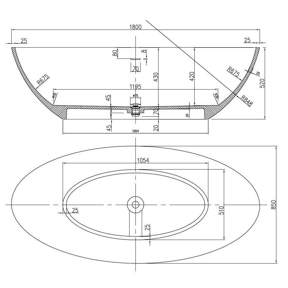Freistehende Badewanne aus Mineralguss RIO STONE weiß - 180 x 85cm - Wählbar in Matt oder Hochglanz  zoom thumbnail 5