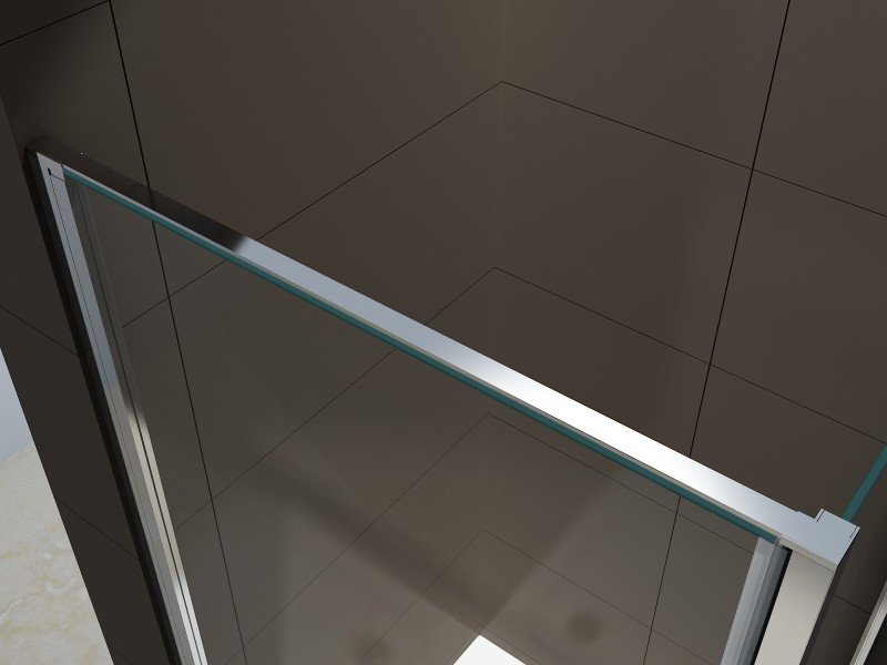 Duschkabine Eckdusche 8 mm NANO Echtglas EX416-1 Milchglas-Streifen - 90 x 90 x 195 cm zoom thumbnail 3