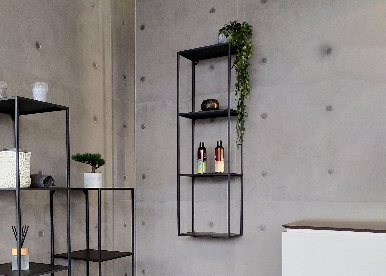 Metallregal aus Edelstahl - Badregal Schwarz matt - 100x30x20cm