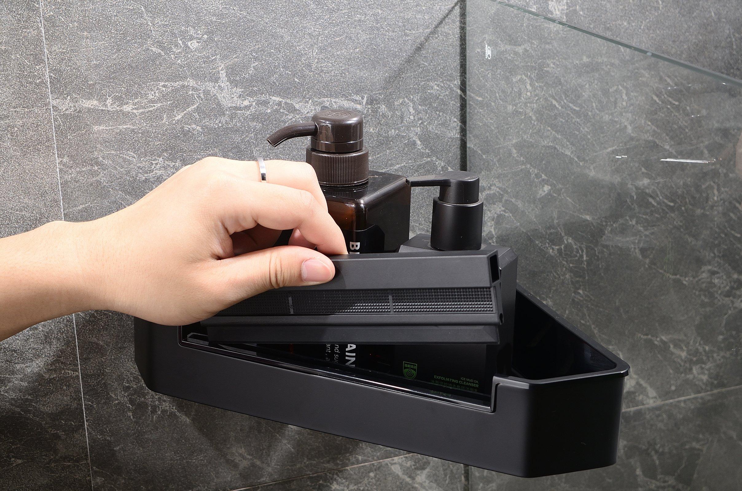 Eck-Duschkorb DK719 Edelstahl mit Duschabzieher - Farbe Chrom und Schwarz matt wählbar