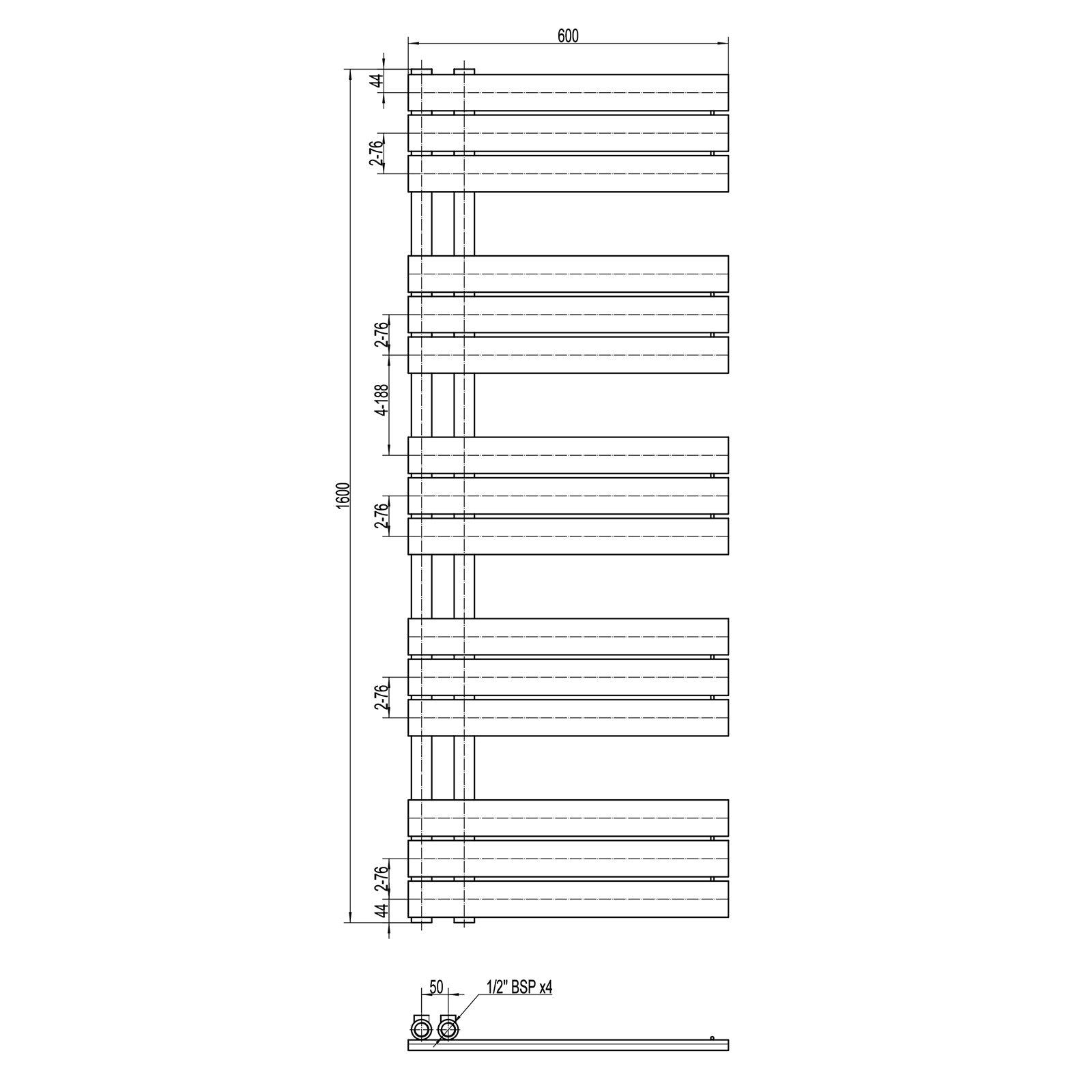 Design Badheizkörper Handtuchwärmer D16G in Anthrazit - Größe wählbar zoom thumbnail 5