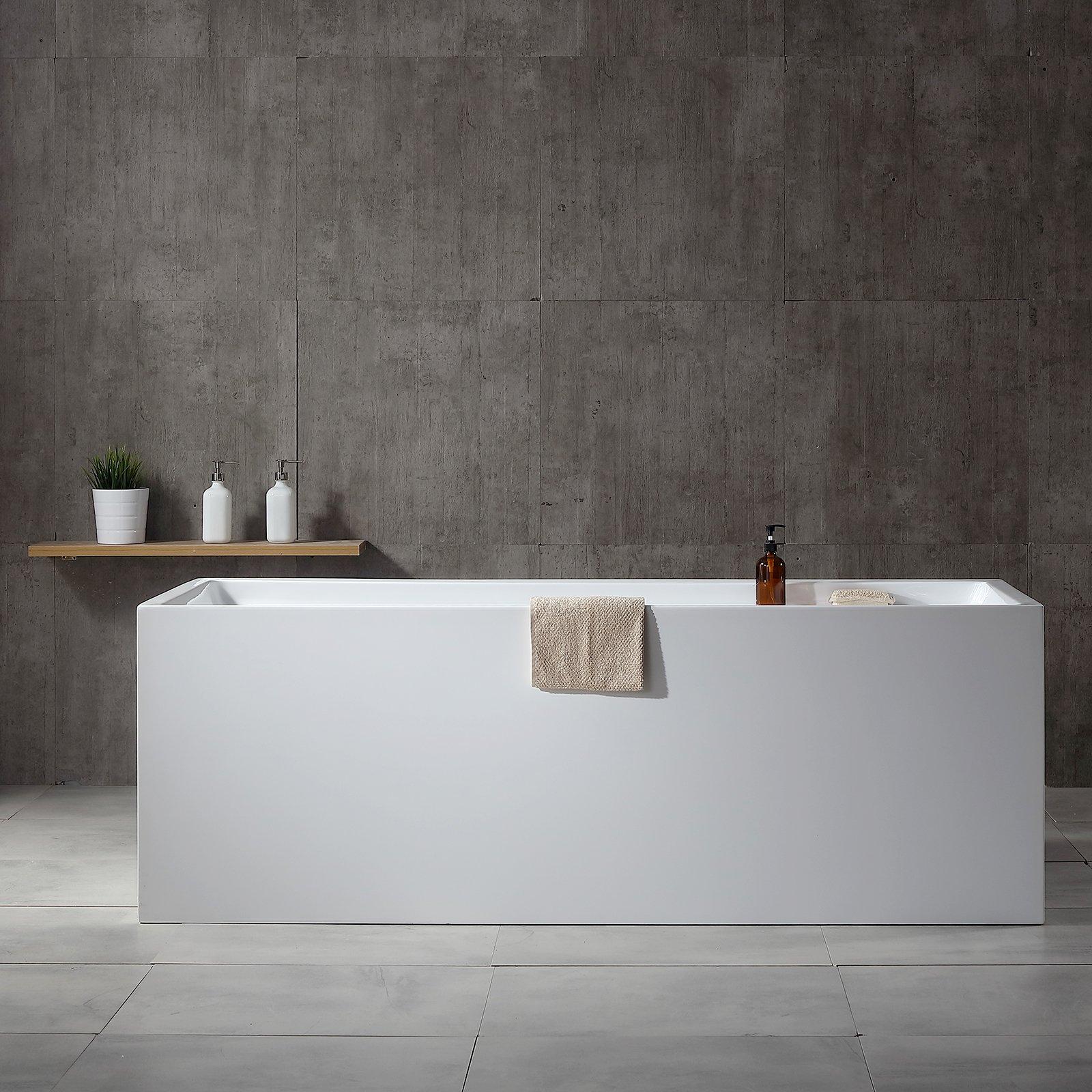Freistehende Badewanne VERONA Acryl weiß - 170 x 80 x 60 cm - Standarmatur wählbar zoom thumbnail 3