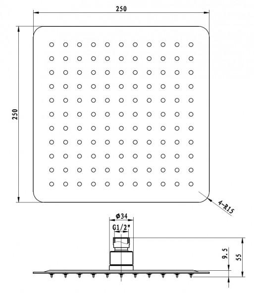 XXL-Regendusche Edelstahl-Duschkopf DPG2007 superflach - 25 x 25 cm zoom thumbnail 3