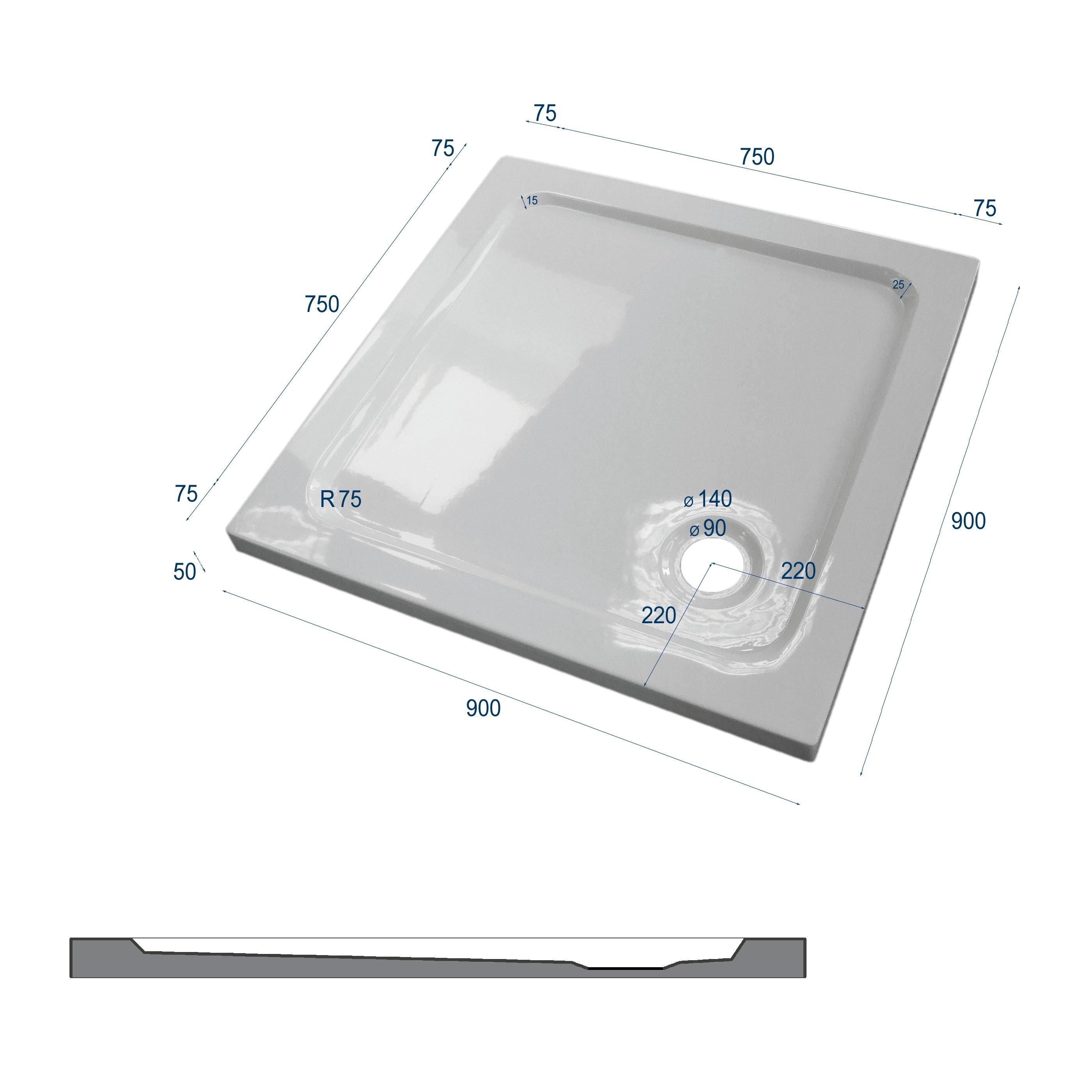 Duschtasse Duschwanne quadratisch - 90 x 90 cm inkl. Ablaufgarnitur zoom thumbnail 5