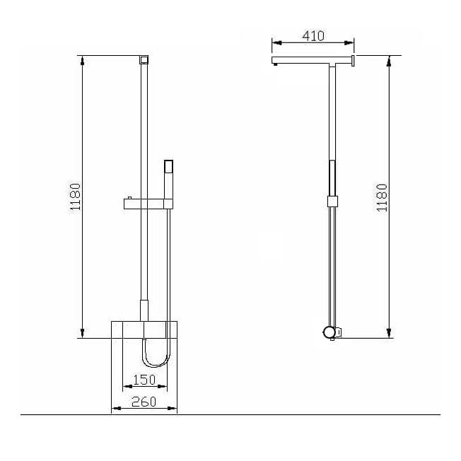 Design-Duschsystem Duschsäule Thermostat 8821C Basic - Auswahl Duschkopf eckig zoom thumbnail 6