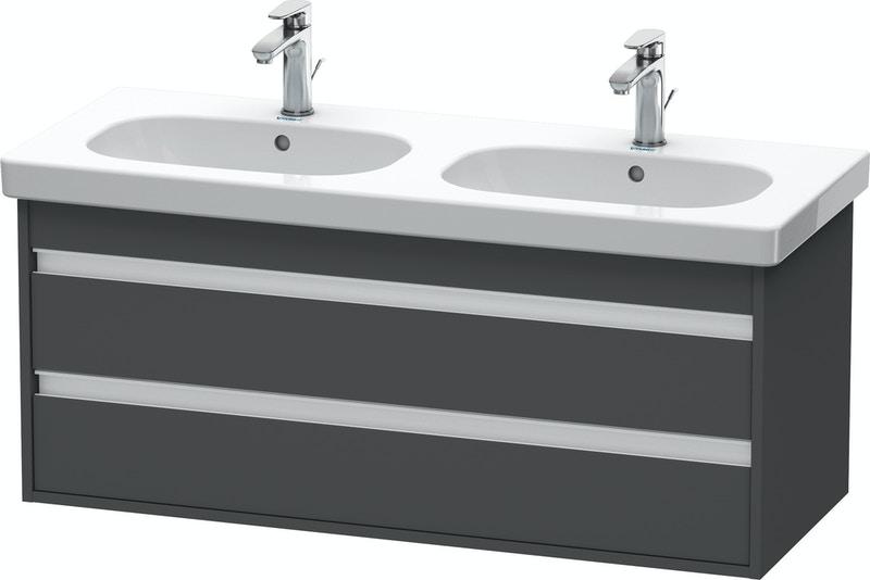 Duravit Ketho Badmöbel Set 1150 mit D-Code Doppel-Waschtisch - Optional mit Seitenschrank und Spiegel