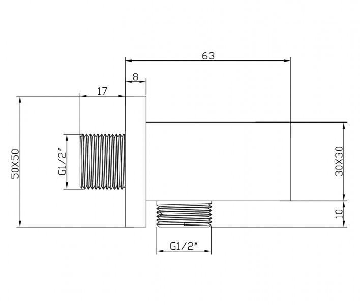 Wandanschlussbogen mit Brausehalter BA002 schwarz - quadratisches Design