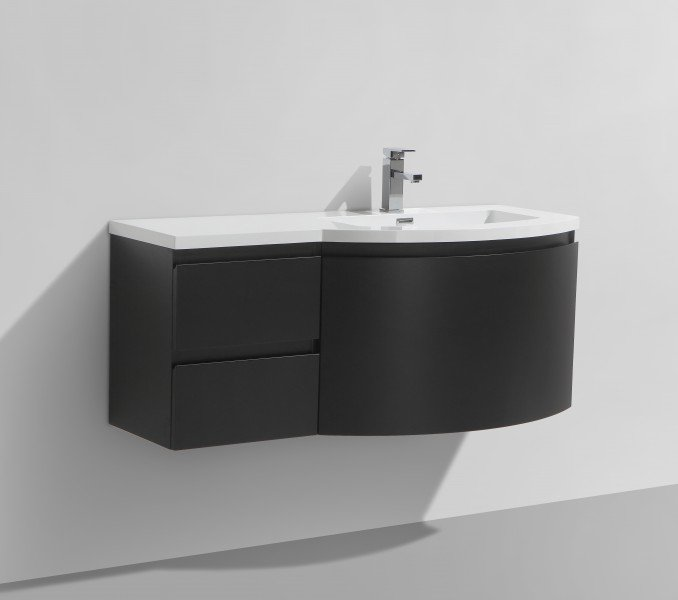 Badmöbel Set LAURANCE 1200 Schwarz matt - geschwungene Form