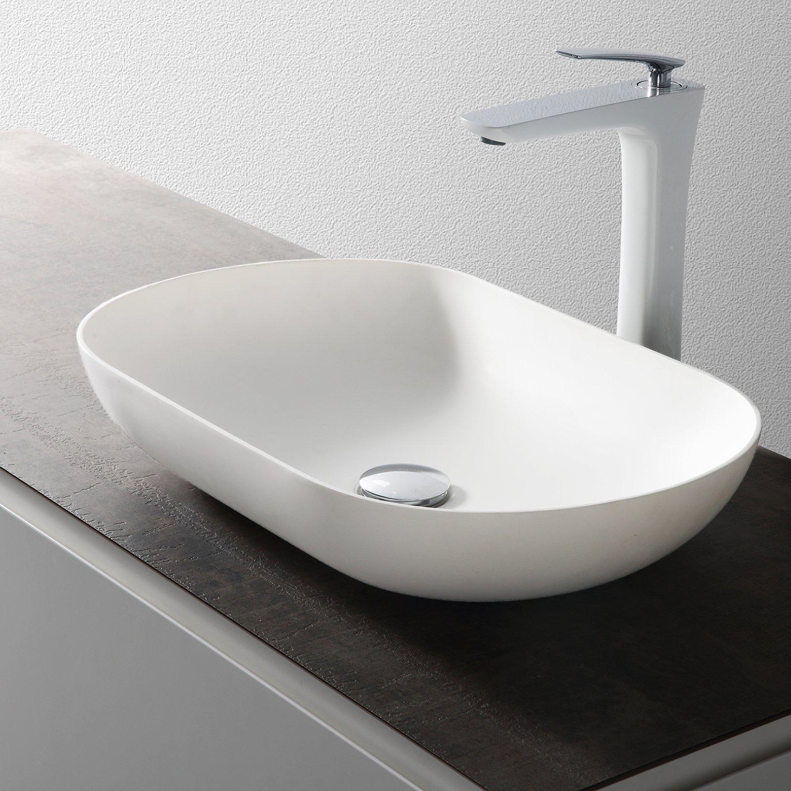 Aufsatzwaschbecken O-540 aus Mineralguss - Weiß matt - 54 x 34 x 10,5 cm