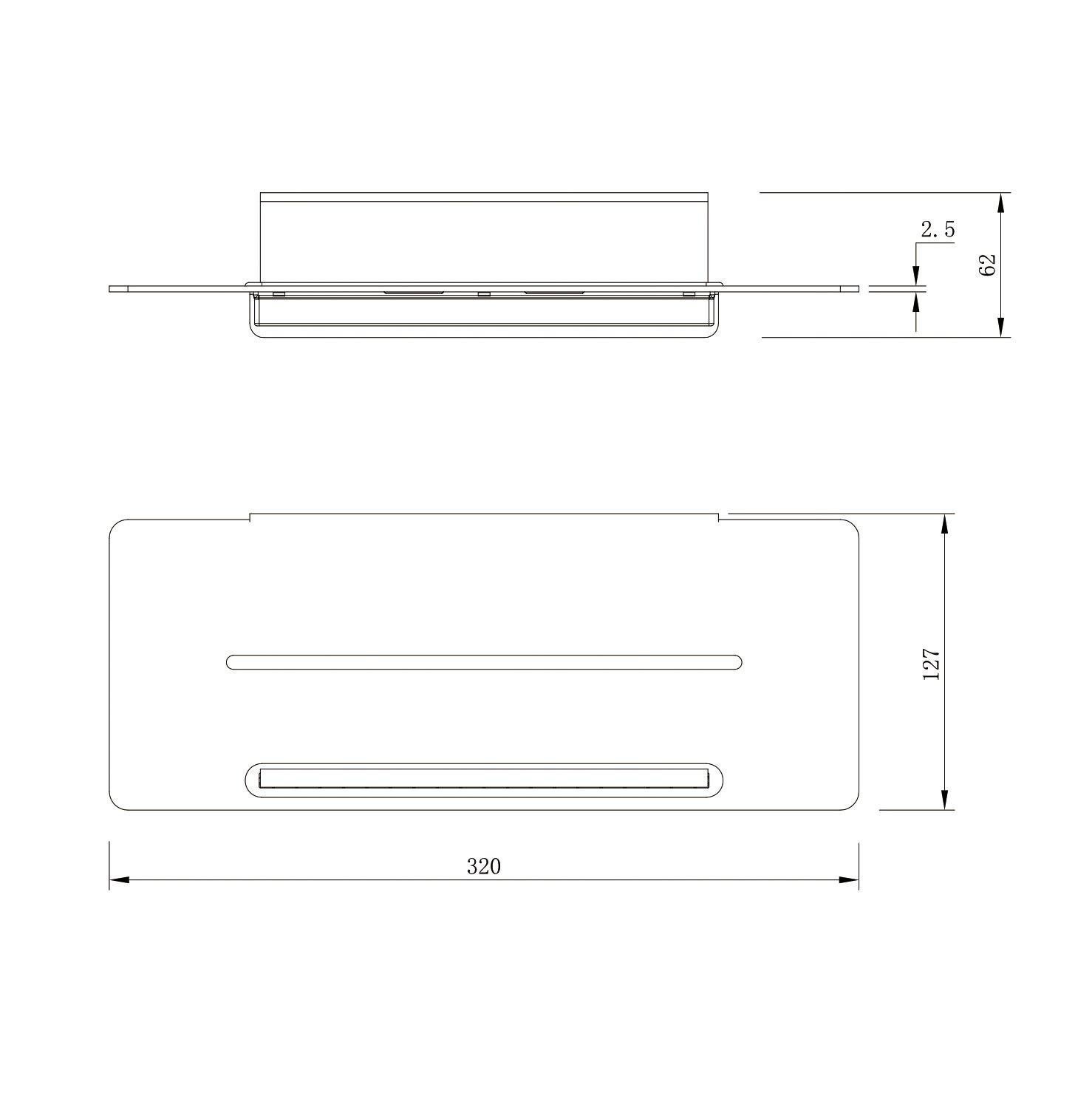 Duschablage DA809 Edelstahl mit Duschabzieher - Farbe Chrom und Schwarz matt wählbar
