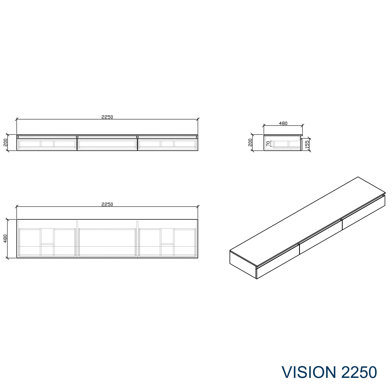 Badmöbel Vision 2250 Weiß matt - Aufsatzwaschbecken optional zoom thumbnail 5