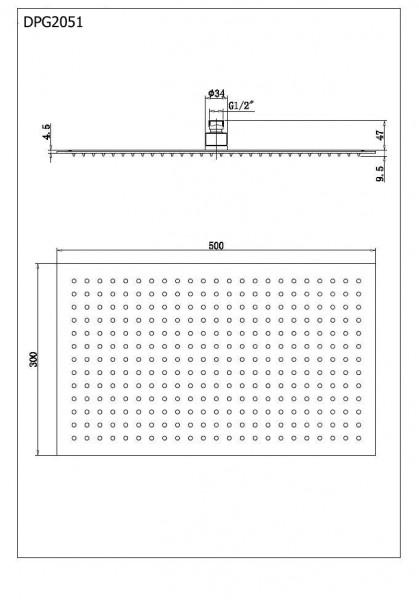 XXL-Regendusche Edelstahl-Duschkopf DPG2051 superflach in Schwarz - 50 x 30 cm zoom thumbnail 5