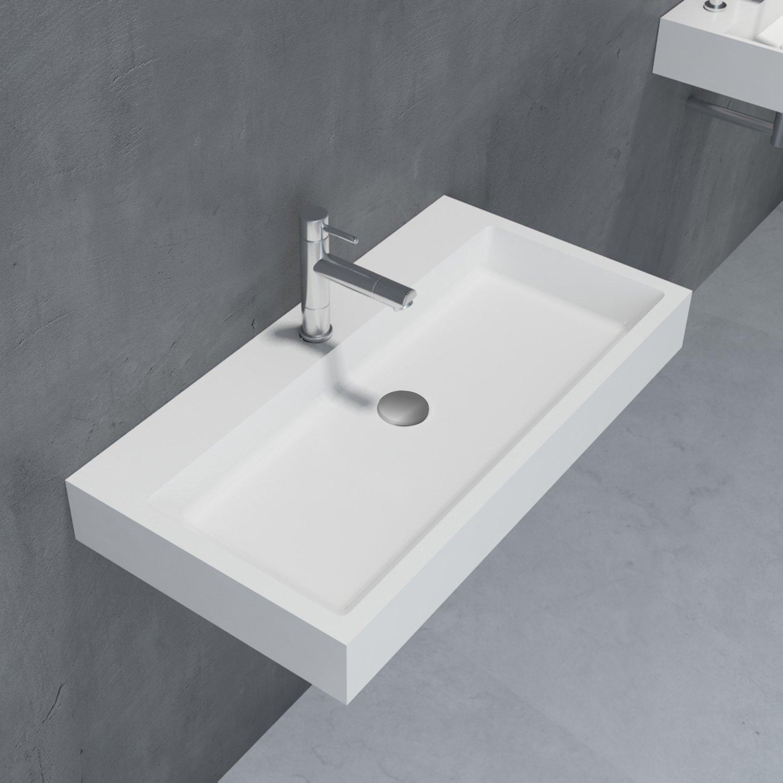 Waschbecken Aufsatzwaschbecken PB2143 aus Solid Stone Mineralguss – Weiß Matt – 80 x 42 x 10 cm