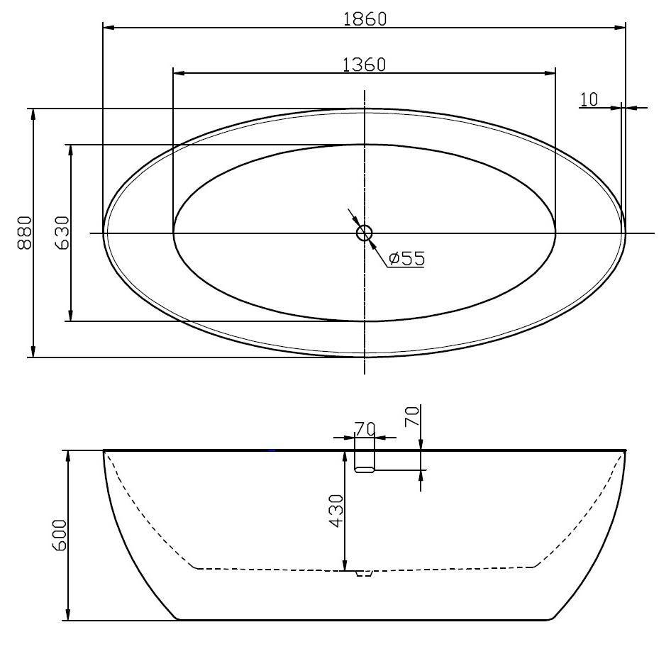 Freistehende Badewanne TERRA Acryl - 186 x 88 cm - Weiß glänzend zoom thumbnail 6