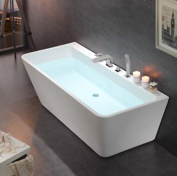 Freistehende Badewanne Acryl VENEZIA weiß - 170x80cm - Wannenarmatur wählbar