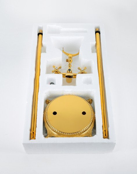 Standarmatur freistehend Wannenarmatur rund Armatur 1414 Gold zoom thumbnail 6