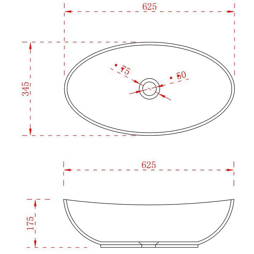 Aufsatzwaschbecken TWA63 aus Mineralguss Solid Stone - Matt - 62,5x34,5x17,5cm zoom thumbnail 3