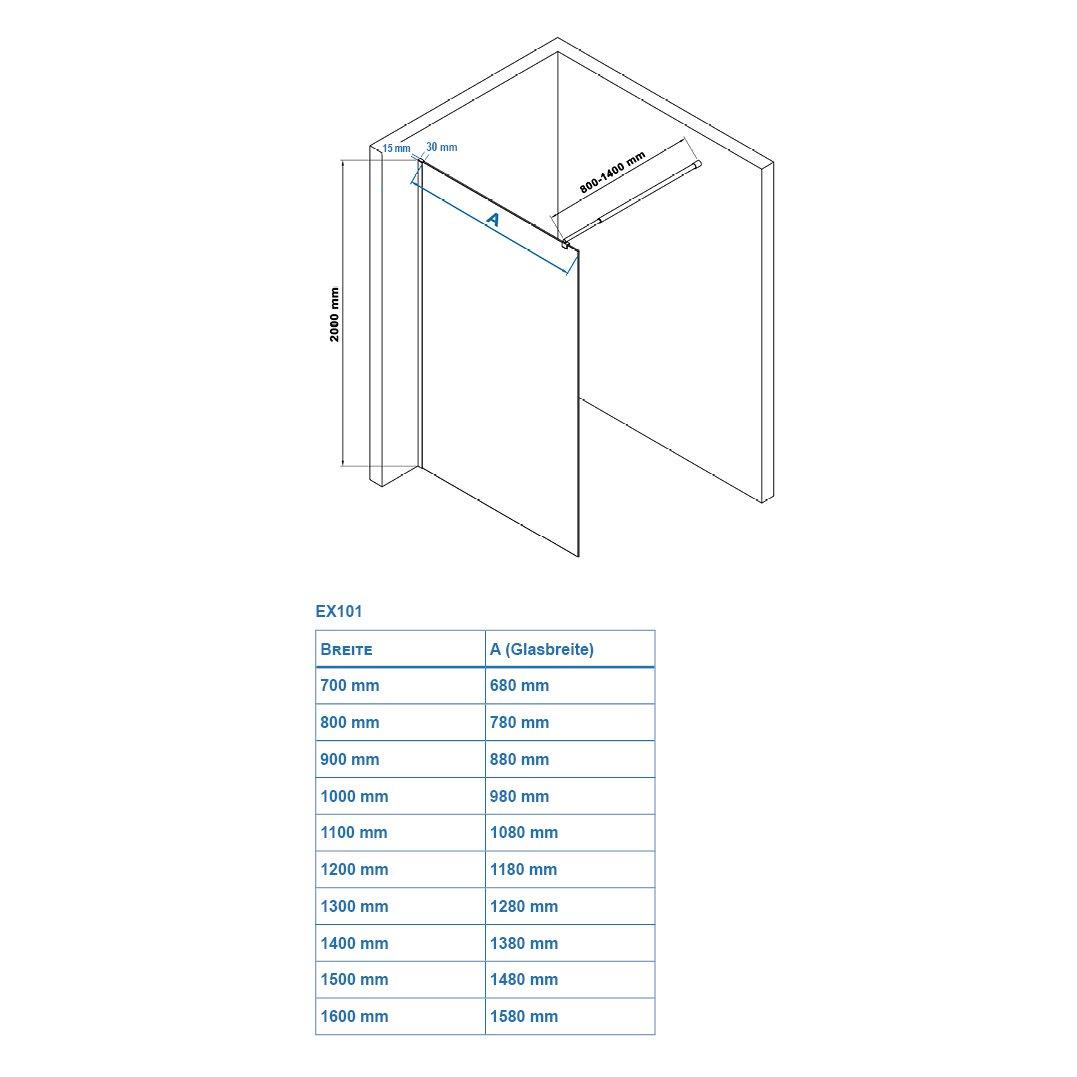 Duschabtrennung Walk-In Nano Echtglas EX101 - graues Glas - Breite wählbar zoom thumbnail 6