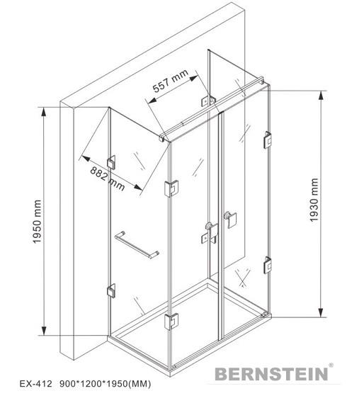 Duschkabine U-Form 8 mm Nano Echtglas EX412 - 120 x 90 x 195 cm - inkl. Duschtasse zoom thumbnail 5