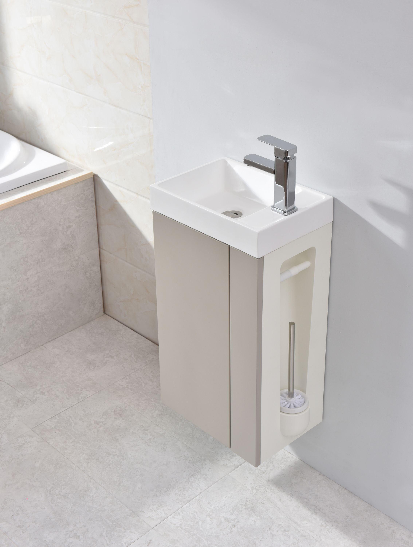 Badmöbel-Set Compact 400 für Gäste-WC - Taupe hell matt zoom thumbnail 3