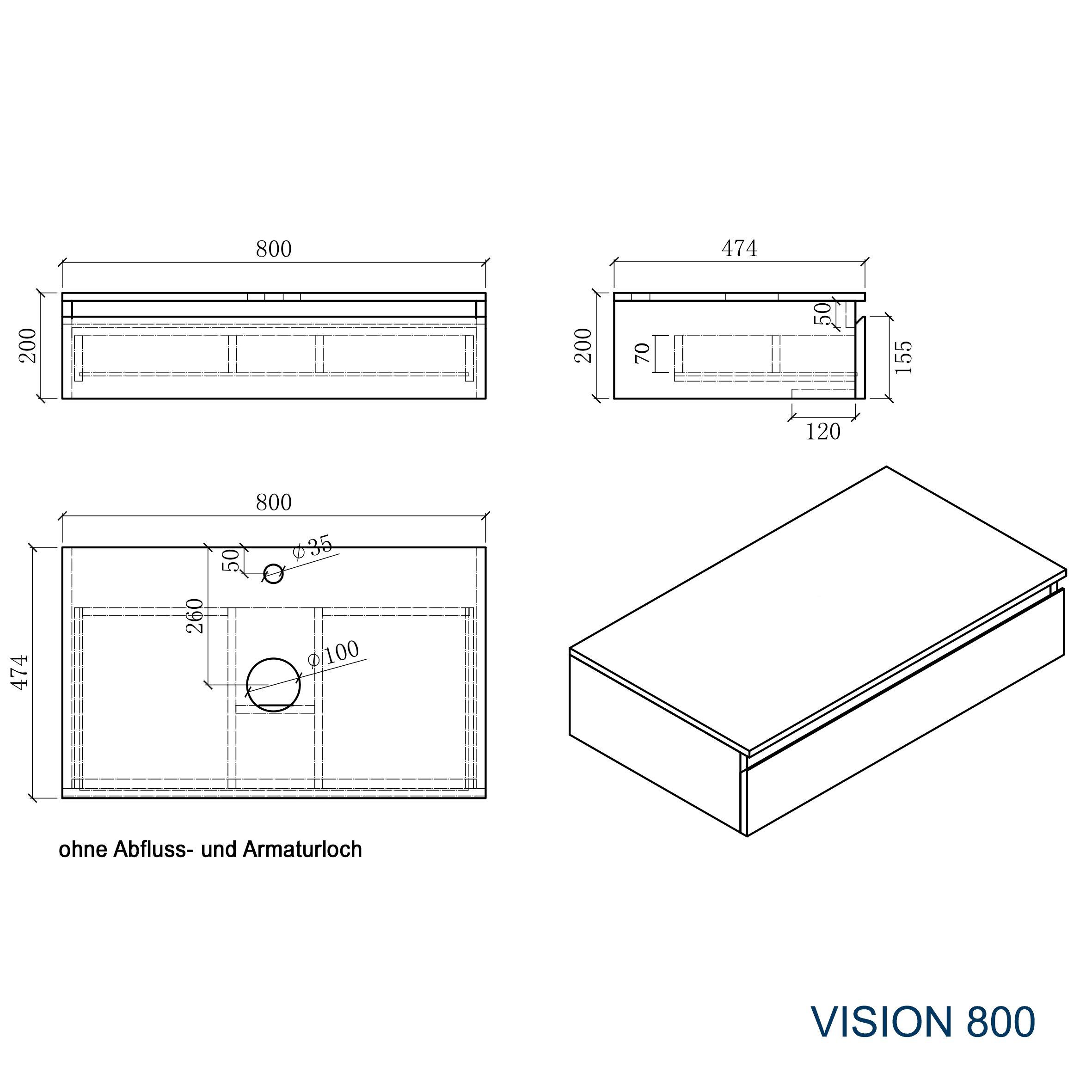 Badmöbel Vision 800 Weiß matt - Spiegel und Aufsatzwaschbecken optional zoom thumbnail 4
