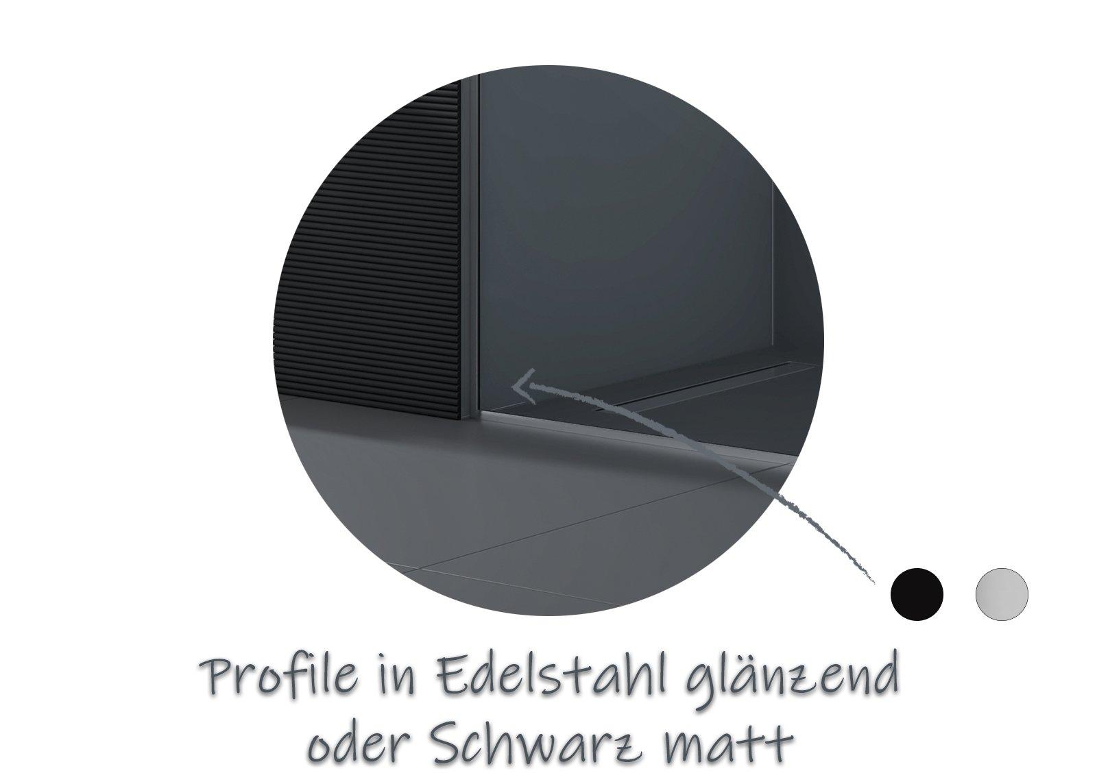 Walk-In 10mm Nano Echtglas EX102 - Klarglas - 2 Glaswände & 14mm Edelstahlprofil - Profilfarbe & Breite wählbar zoom thumbnail 5