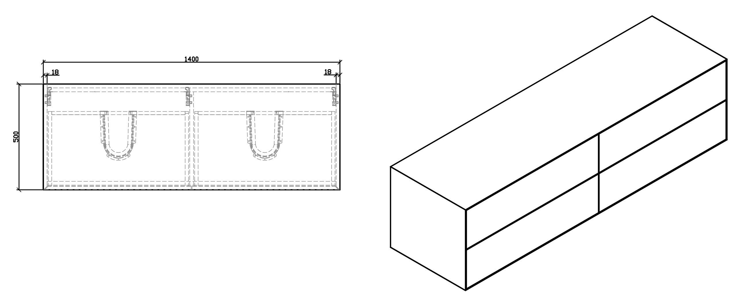 Badmöbel Milou 1400 Weiß matt - Spiegel und Aufsatzwaschbecken optional zoom thumbnail 4