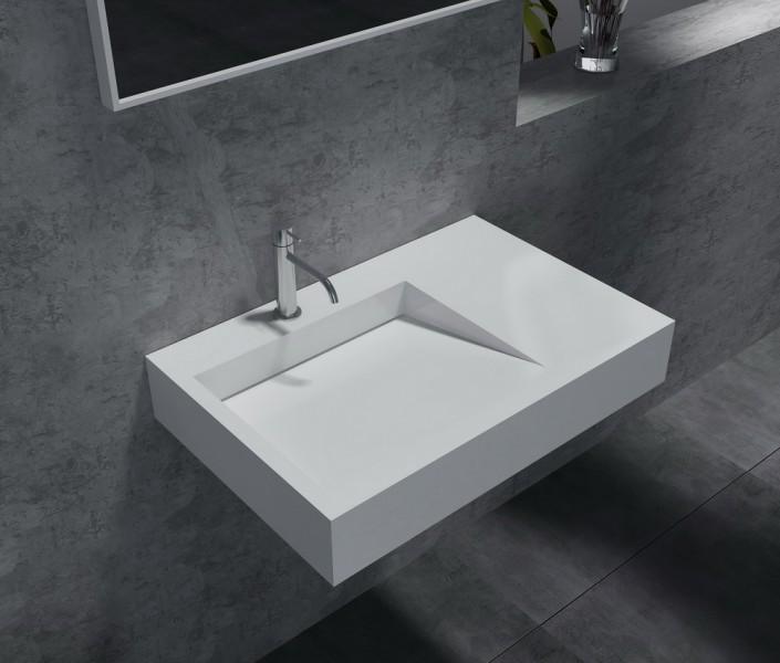 Wandwaschbecken aus Mineralguss PB2014 weiß - Solid Stone - 74 x 50 x 13 cm