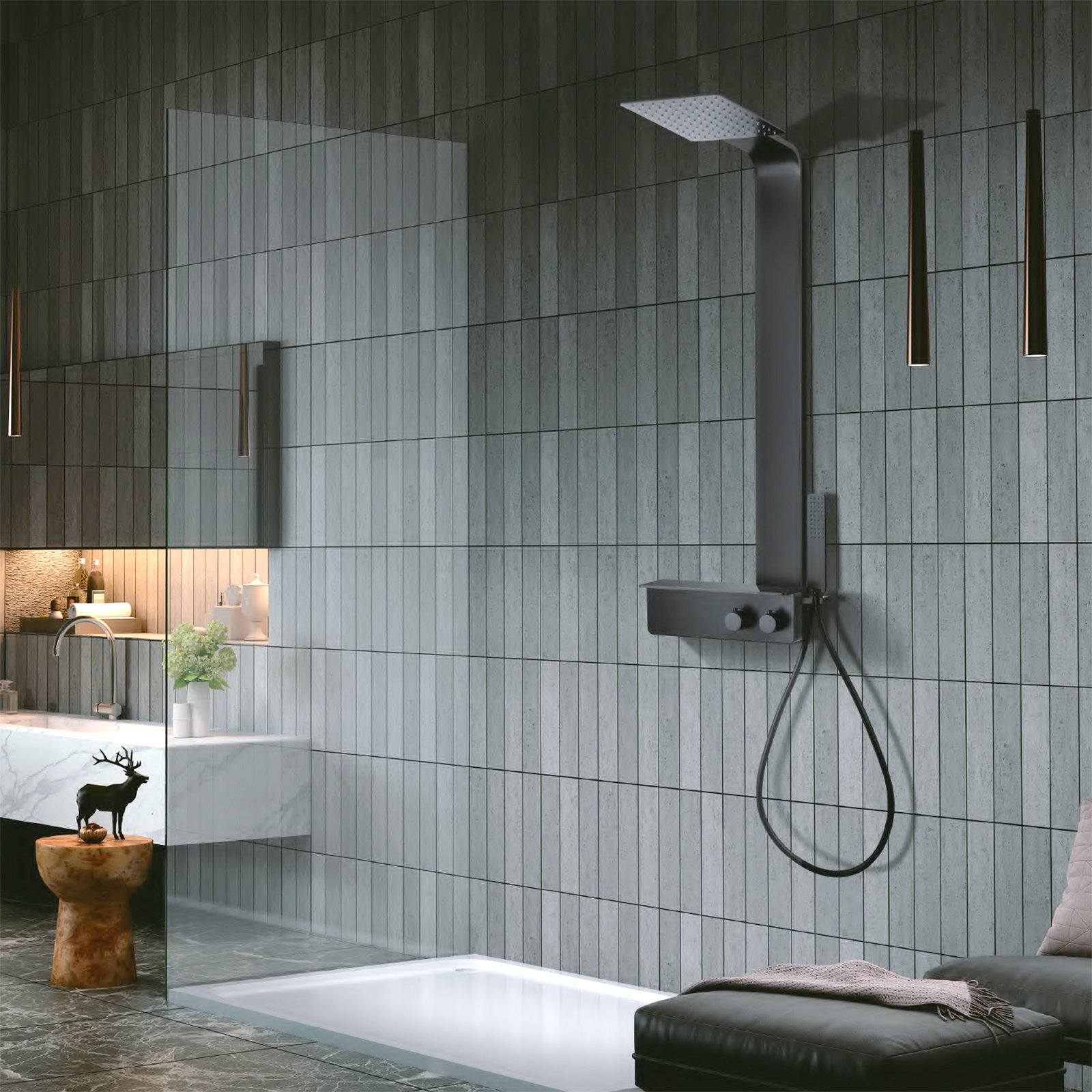 Duschsystem NT038 Pro mit Thermostat aus  Edelstahl - Schwarz Matt