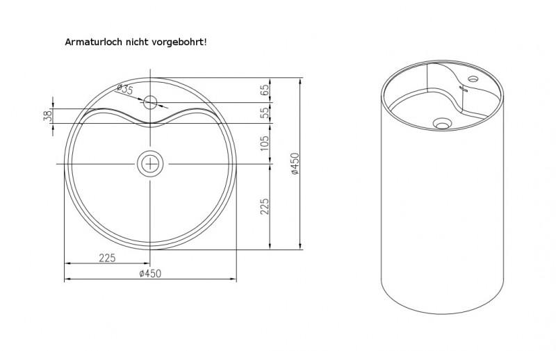 Freistehendes Waschbecken aus Mineralguss PB2021 weiß - 45 x 90 cm - Solid Stone zoom thumbnail 4