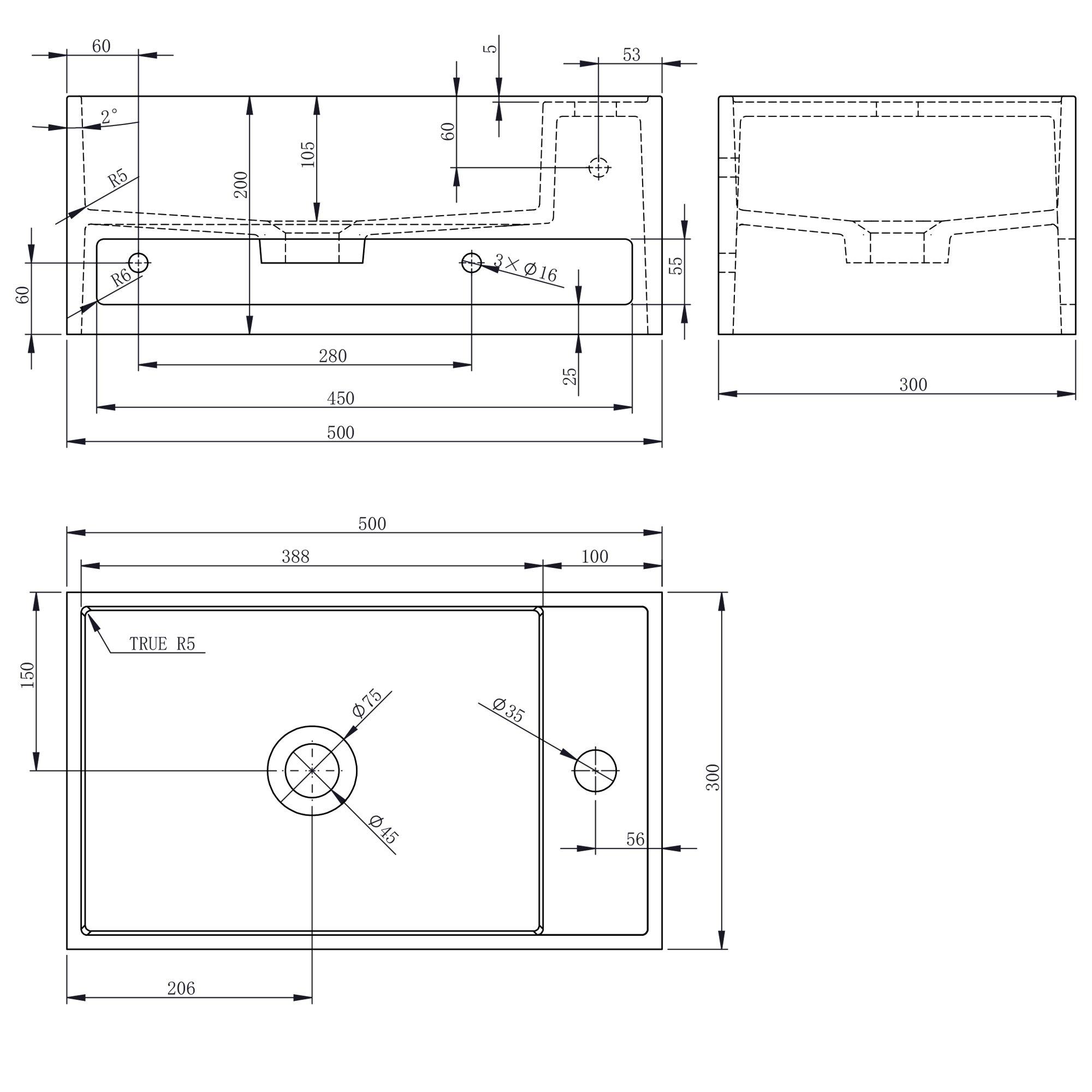 Wandwaschbecken PB2077 aus Mineralguss Solid Stone mit integriertem Handtuchhalter - 50 x 30 x 20 cm - Weiß Matt zoom thumbnail 4