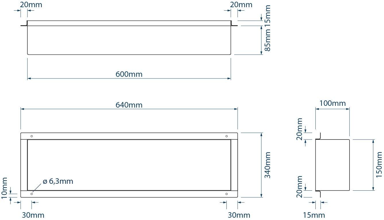 BERNSTEIN Wandnische aus Edelstahl BS156010 randlos - 15 x 60 x 10 cm - Weiß zoom thumbnail 6