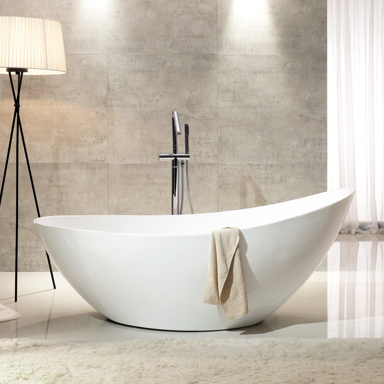 Freistehende Badewanne VICE aus Acryl - 183,5 x 78,5 x 77 cm - Farbe & Standarmatur wählbar zoom thumbnail 4
